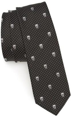 Men's Alexander Mcqueen Skull Polka Dot Silk Skinny Tie $165 thestylecure.com