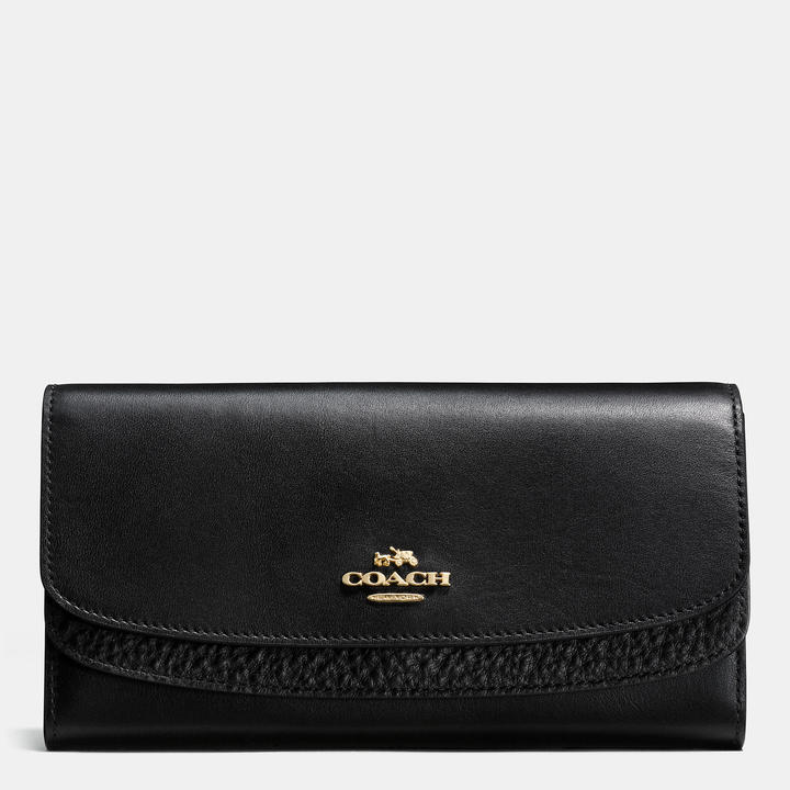 Coach   COACH Coach Double Flap Wallet In Glovetanned Leather