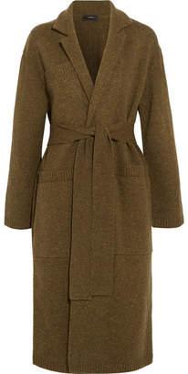 Knitted Merino Wool Robe Coat - Army green
