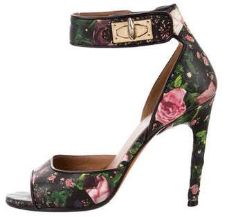 Givenchy Floral Print Ankle Strap Sandals