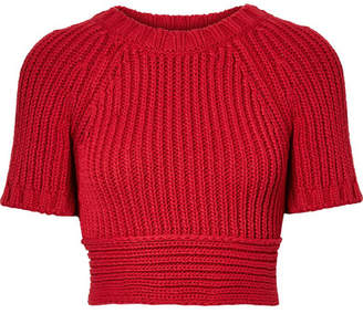 RED Valentino Cropped Tie-back Ribbed Cotton Sweater