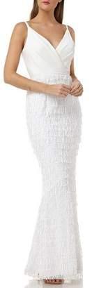 Carmen Marc Valvo Surplice Crepe Bodice Gown with Slim Fringe Skirt