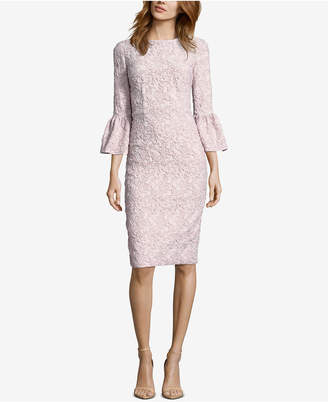 Betsy & Adam Glitter Matelasse Bell-Sleeve Dress
