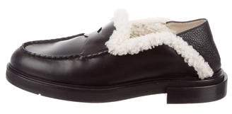 Fendi Shearling-Trimmed Penny Loafers