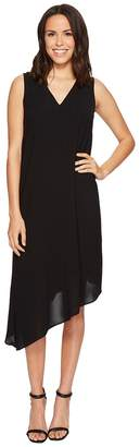 Adrianna Papell Gauzy Crepe Asymmetrical Trapeze Dress with V Neckline, V Cut Out Back, and Back Ruffled Drape, Fully Lined Women's Dress