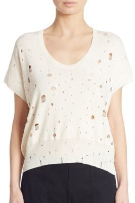 T by Alexander Wang Distressed Short Sleeve Sweater