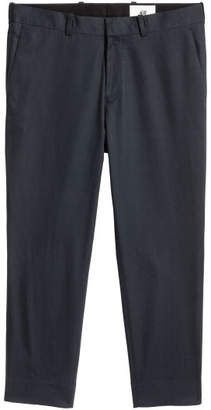 H&M Cropped Cotton-blend Chinos - Blue