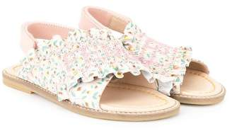 Fendi floral frill strap sandals