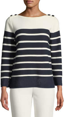 9d4708f1fdb8ab St. John Boat-Neck Birdseye Mesh Knit Colorblock Striped Sweater