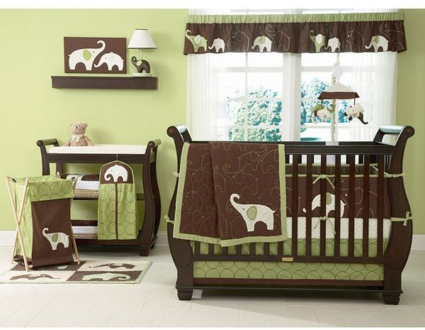 Carter's elephant bedding coordinates - green