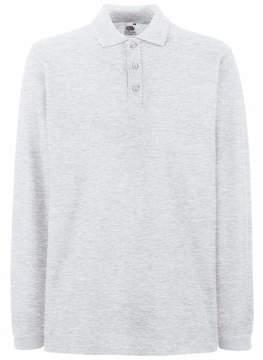 Fruit of the Loom Mens FOTL Premium Long Sleeve Polo T Shirt-Ash Grey
