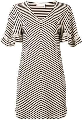 See by Chloe chevron frilled sleeve mini dress