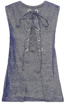 Theory Lace-Up Linen-Blend Chambray Top