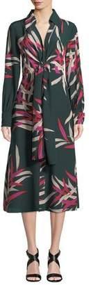 Diane von Furstenberg Von Floral Silk Tie-Front Midi Dress