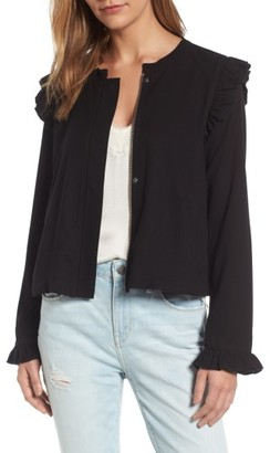 Women's Hinge Ruffle Swing Jacket $99 thestylecure.com