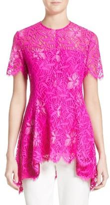 Women's Lela Rose Floral Lace Peplum Top $995 thestylecure.com