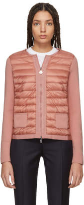Moncler Pink Down Front Panel Zip-Up Sweater