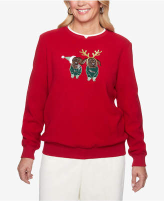Alfred Dunner Applique Anti-Pill Holiday Sweatshirt