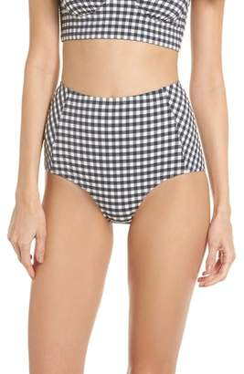 Tory Burch Gingham High Waist Bikini Bottoms