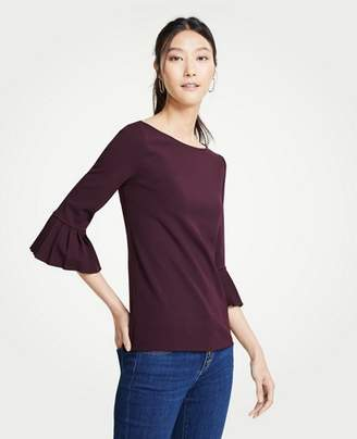 Ann Taylor Pleated Cuff Boatneck Top