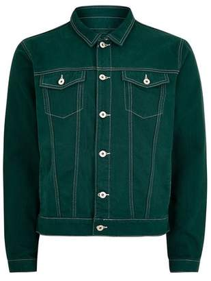 Topman Mens Green Contrast Stitch Denim Jacket
