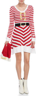 Derek Heart Two-Piece Candy Cane Dress & Hat Set