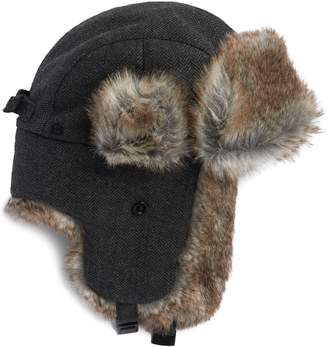 b16a75ed558 Chaps Men s Herringbone Wool-Blend Faux-Fur Trapper Hat