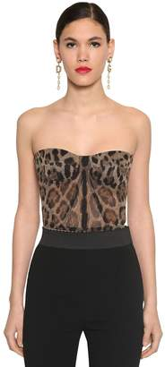 Dolce & Gabbana PRINTED SHEER STRETCH TULLE BUSTIER