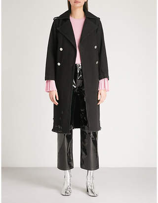 Mo&Co. Double-breasted denim trench coat