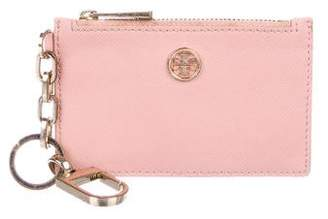 Tory Burch Logo Leather Zip Card Holder