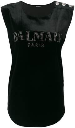 Balmain logo printed tank top