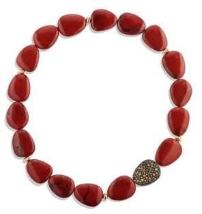David Yurman Delta Bead Necklace With Red/Poppy Jasper, Orange And