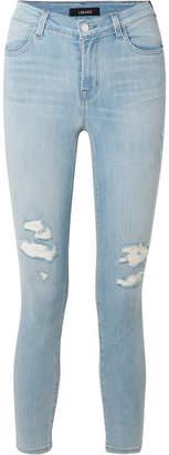 J Brand Alana Cropped Distressed High-rise Skinny Jeans - Light denim