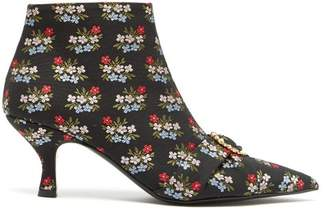 Erdem Sienna Floral Jacquard Ankle Boots - Womens - Black Multi