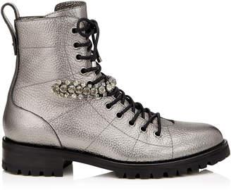 Jimmy Choo CRUZ FLAT Anthracite Metallic Grainy Leather Cruz Flat Boots with Crystal Detailing