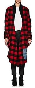 Greg Lauren Women's Checked Wool-Blend Kimono Jacket - Red, Blk