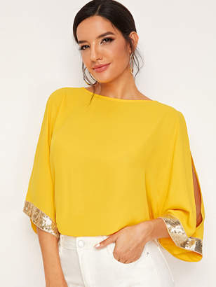 Shein Split Sleeve Contrast Sequin Top
