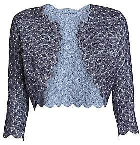 Alaia Women's Camee Woven Scalloped Cropped Cardigan