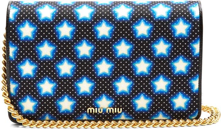 Miu Miu MIU MIU Star-print canvas and leather cross-body bag