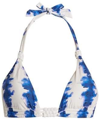 Riviera Biondi Abstract Print Triangle Bikini Top - Womens - Blue White