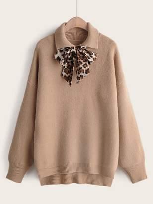 Shein Leopard Tie Front High Low Hem Sweater