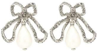 Oscar de la Renta Crystal-embellished bow earrings