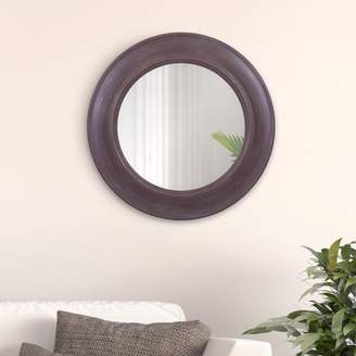"Rustic Round Mirror in Distressed Taupe 24""x24"" by Patton Wall Decor"