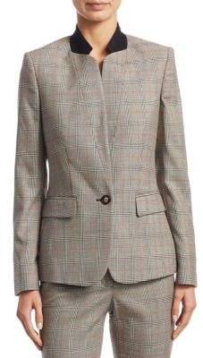 Stella McCartney Glen Plaid Wool Stand Collar Blazer