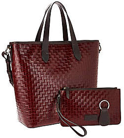 As Is Dooney & Bourke Woven Embossed Leather Shopper $131 thestylecure.com