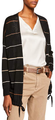 Brunello Cucinelli Shimmer-Striped Linen Cardigan