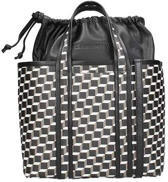 Pierre Hardy Tote Bag In White-black Leather