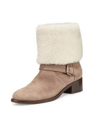 Delman Minka Fur-Cuff Moto Boot, Off White $548 thestylecure.com