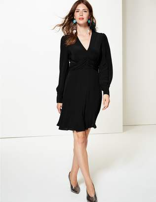 Marks and Spencer Ruched Drape V-Neck Long Sleeve Tea Dress