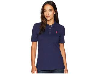 U.S. Polo Assn. Short Sleeve Lace Yoke Solid Stretch Pique Polo Shirt Women's Clothing
